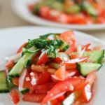 This salad is so quick and easy! Tomato Garlic salad!