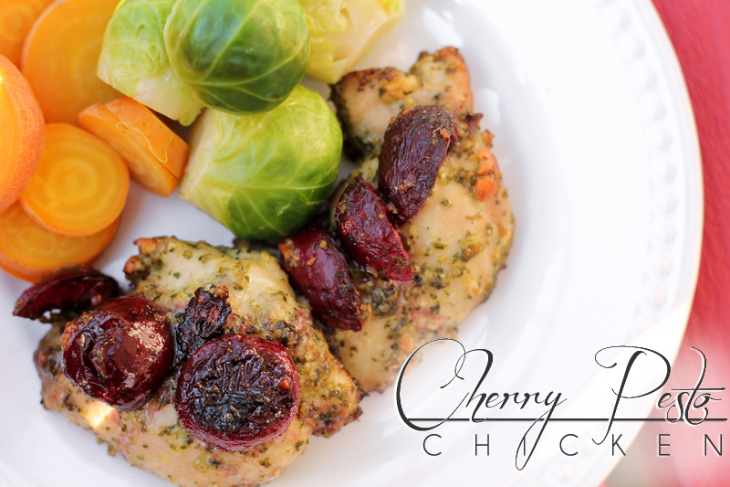 Cherry paleo pesto chicken is the perfect balance of sweet and salty. Cherries and basil compliment chicken thighs in this quick and easy paleo pesto recipe