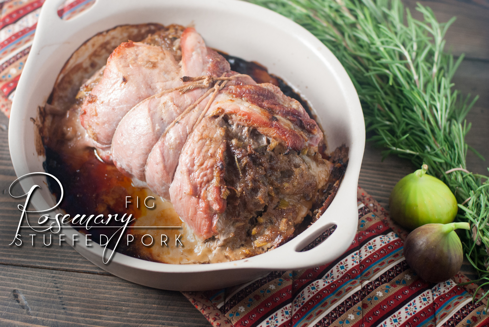 Rosemary Fig Stuffed Pork is savory with a hint of sweet figs, quick and easy for a family dinner or holiday table. https://www.theprimaldesire.com/rosemary-fig-stuffed-pork/