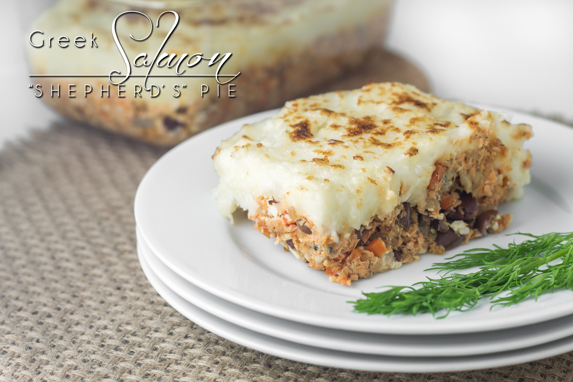"Canned salmon, feta, and olives make this Greek Salmon ""Shepherd's"" Pie delicious. http://wp.me/p4Aygm-2bD"