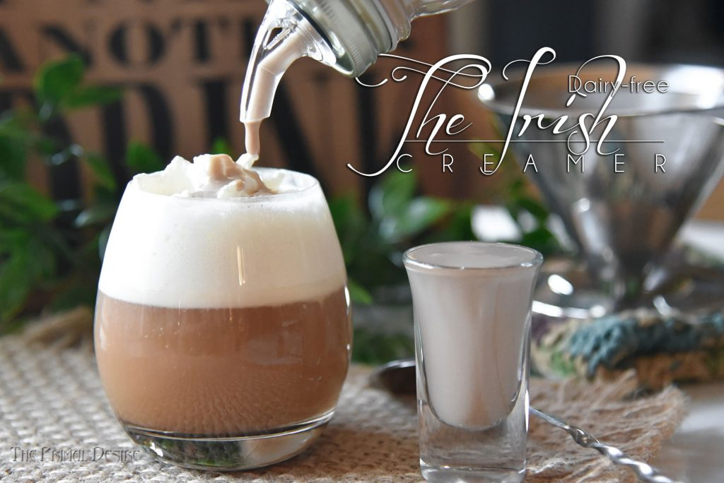 Coconut dairy free Irish creamer shot and coconut whip cream. Dairy free Irish cream