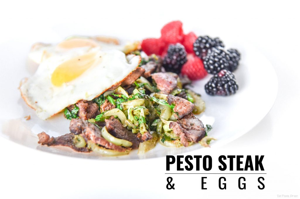 Paleo Pesto Steak and Eggs - Keto Breakfast - Start your day off strong with a wakeup call for your taste buds from Pesto Steak and Eggs.  Keto breakfast in under 7 minutes!