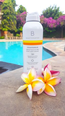 Beautycounter Sunscreen spray in Bali.