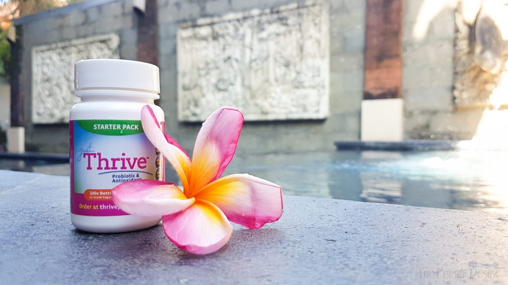 Just Thrive Probiotic in Bali to help prevent traveler's diarrhea.