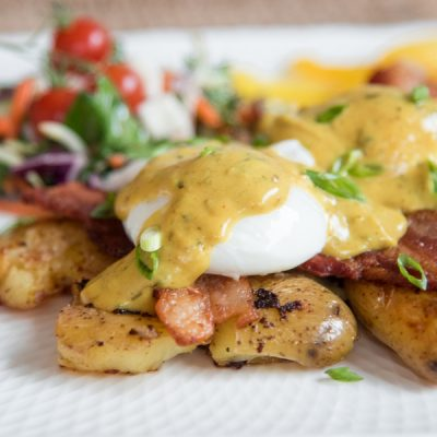 Smashed Potato Bacon Benny with Creamy Fenugreek Sauce