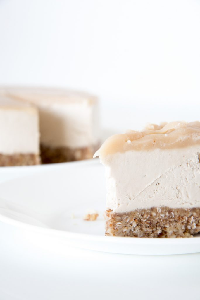 Slice of Salted Caramel Cashew Cheesecake