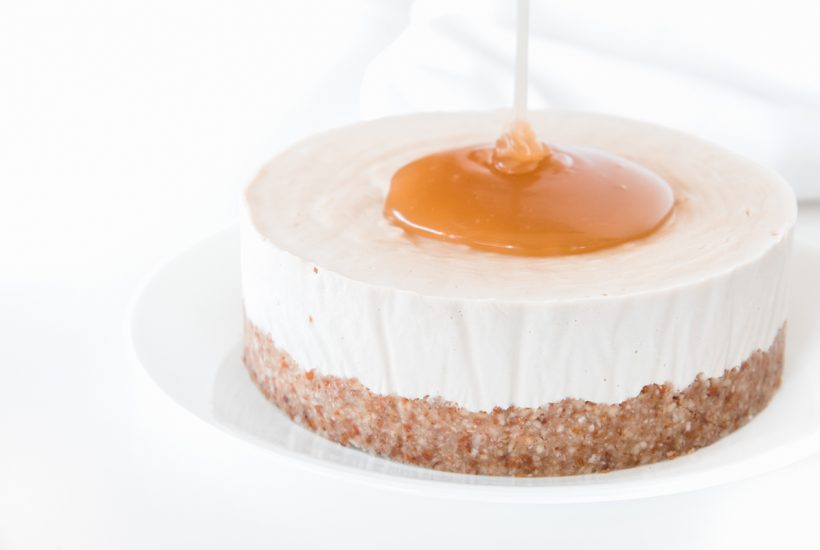 Salted Caramel poured over Cashew Cheesecake