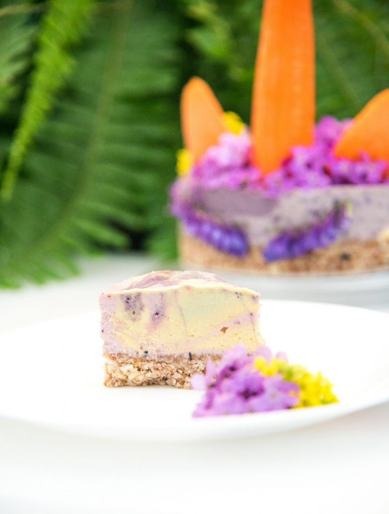 A healthy Unicorn Cheesecake? You read that write: Paleo cashew cheesecake with rainbow colors and fruit. No icing - we decorated this with wild flowers!