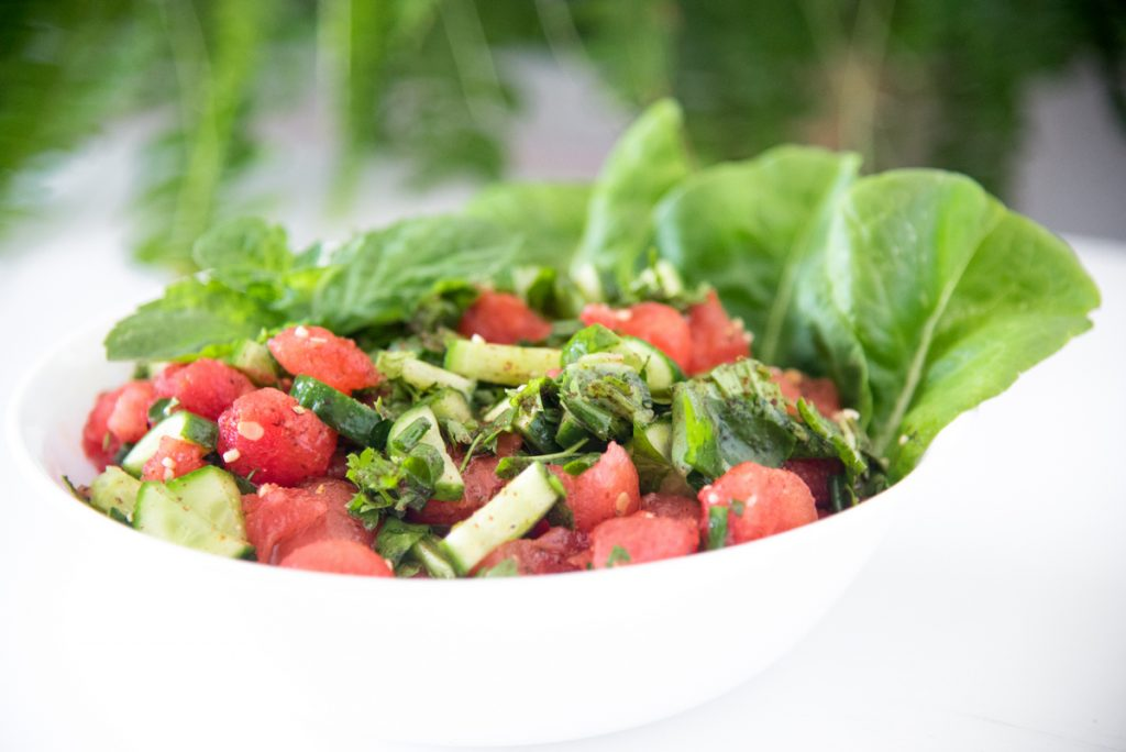 AIP Watermelon Fattoush Salad is a savory summer salad to keep you cool and AIP compliant!  Middle Eastern and Mediterranean foods are some of my favorite cuisines, and so nice that it can be enjoyed on AIP or elimination diets!!